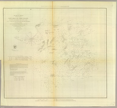 Preliminary sketch showing the positions of Davis' Shoal and other dangers recently discovered by the Coast Survey and the soundings on the Old South Shoal, Bass Rip, Old Man, Pochick Rip &c. By the hydrographic parties under the command of Lieut. C.H. Davis, U.S. Navy in 1846, '47 & '48, Lieut. C.H. McBlair, U.S.N. in 1849, '50, '51 & '52 and Lieut. H.S. Stellwagen, U.S.N. in 1853, assistants U.S.C.S. A.D. Bache Superintendent. 1853. (with logo) U.S. Coast Survey Office.