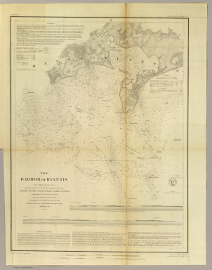 The Harbor of Hyannis. From a trigonometrical survey under the direction of A.D. Bache, Superintendent of the Survey of the Coast of the United States. Triangulation by C.M. Eakin assistant. Topography by W.M. Boyce assistant. Hydrography by J.N. Maffitt, Lieut. U.S. Navy, under the direction of Chas. H. Davis, Lieutenant U.S. Navy. Published in 1850. Reduction by Wm. Luce draughtsman. Engraved by Sherman & Smith, N.Y. Sailing directions &c. by W. Smith U.S.C.S. Electrotype copy no. 1 by G. Mathiot, U.S.C.S. (with logo) U.S. Coast Survey Office.