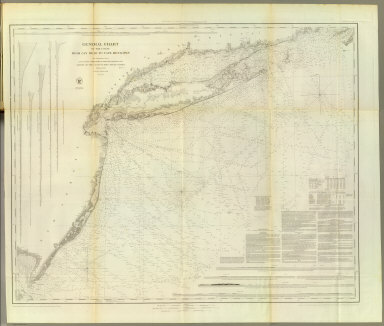 General chart of the coast from Gay Head to Cape Henlopen. From a trigonometrical survey under the direction of F.R. Hassler and A.D. Bache, Superintendents of the Survey of the Coast of the United States. Published in 1852. A.D. Bache, Superintendent. Reduction for engraving by J. Farley asst., W.M.C. Fairfax asst., C. Mahon, J.J. Ricketts & J. Lambert draughtsmen. Views by J. Farley asst. Topography engraved by F. Dankworth & O.A. Lawson. Lettering by John Knight. Views by O.A. Lawson. Soundings by J. Knight & W. Smith. Sections by G. McCoy & O.A. Lawson. Electrotype copy no. 2 by G. Mathiot, U.S.C.S. (with logo) U.S. Coast Survey Office.