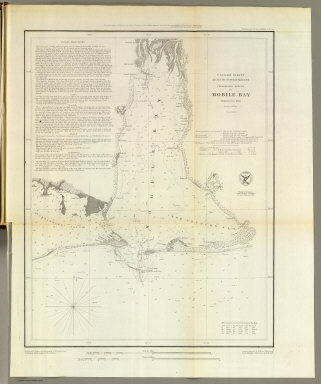 Preliminary sketch of Mobile Bay. U.S. Coast Survey. A.D. Bache, Superintendent. Published in 1852. Second edition. Reduction for engraving--topography by J. Lambert and J.J. Ricketts, hydrography by M.C. Gritzner. Outlines engraved by H. Evens, topography by H.M. Knight, lettering by Saml. E. Stull. Electrotype copy no. 1 by G. Mathiot, U.S.C.S. (with logo) U.S. Coast Survey Office.