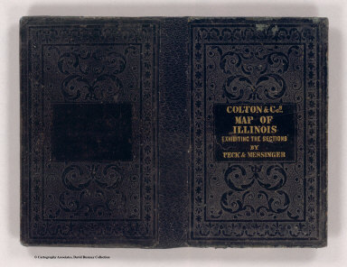 (Covers to) New sectional map of the state of Illinois. Compiled from the United States surveys. Also exhibiting the internal improvements, distances between towns, villages & post offices, the outlines of prairies, woodlands, marshes & the lands donated to the state by the Gen. Govt. for the purpose of internal improvements. By J.M. Peck, John Messinger, and A.J. Mathewson. Published by J.H. Colton & Co. New-York. 1852. Engraved by S. Stiles & Co. N. York. Entered ... 1836 by J.H. Colton & Co. ... New York.