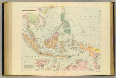 Asiatic Archipelago, on Mercator's projection. (with Singapore). (with) Labuan Island surveyed by Captn. Sir Edwd. Belcher & Lieut. D.M. Gordon. London atlas series. Stanford's Geographical Establishment. London : Edward Stanford, 26 & 27 Cockspur St., Charing Cross, S.W. (1901)