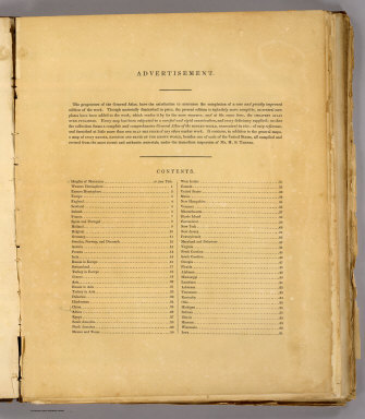 (Contents to) A new general atlas, comprising a complete set of maps representing the grand divisions of the globe, together with the several empires, kingdoms and states in the world, compiled from the best authorities, and corrected by the most recent discoveries. New York, Published at Tanner's Geographical Establishment, 1845. Written and engraved by Jos. Perkins.