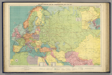 Europe's overland and sea communications with the east. George Philip & Son, Ltd. The London Geographical Institute. (1922)