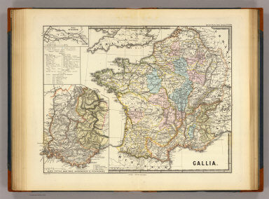 Gallia. (with) Alpes Cottiae, maritimae, Narbonensis II, Viennensis. (with) Insula Batavorum. Corr. Menke 1868. Gothae: Justhus Perthes. Spruner-Menke atlas antiquus. (1865)