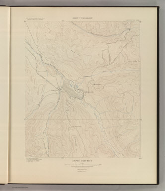 Aspen District. Sheet V Topography. U. S. Geological Survey, Charles D. Walcott, Director. Monograph XXXI. A.H. Thompson, Geographer. F.M. Douglas, Topographer in charge. Triangulation by E.M. Douglas. Topography by R.C. McKinney. Surveyed in 1893. Julius Bien & Co. Lith. N.Y. (1898)