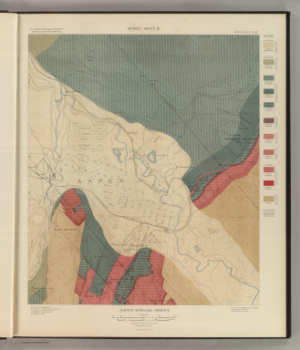 Aspen Special Sheet. Geology Sheet IX. U. S. Geological Survey, Charles D. Walcott, Director. Monograph XXXI. A.H. Thompson, Geographer. Morris Bien, Topographer in charge. Triangulation by Morris Bien. Topography by F.F. Grove. Surveyed in 1891. S.F. Emmons, Geologist in charge. Geology by J.E. Spurr. Assistant, G.W. Tower. Julius Bien & Co. Lith. N.Y. (1898)