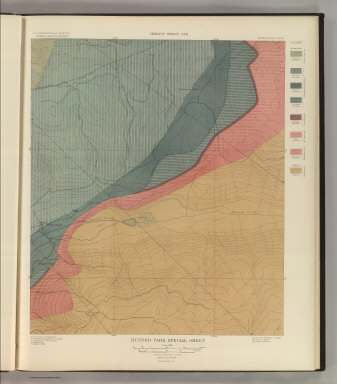 Hunter Park Special Sheet. Geology Sheet XVII . U. S. Geological Survey, Charles D. Walcott, Director. Monograph XXXI. A.H. Thompson, Geographer. F.M Douglas, Topographer in charge. Triangulation by E.M. Douglas. Topography by (R.C. McKinney). S.F. Emmons, Geologist in Charge. Geology by J.E. Spurr. Assistant, G.W. Tower. Surveyed in 1893. Julius Bien & Co. Lith. N.Y. (1898)