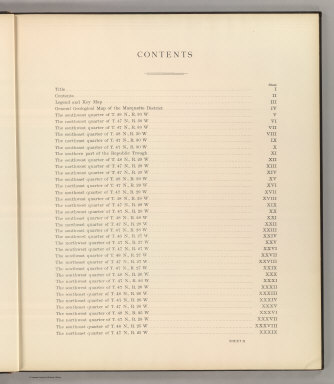 (Table of Contents to) Department Of The Interior, United States Geological Survey, Charles D. Walcott, Director. Atlas To Accompany Monograph XXVIII On The Marquette Iron-Bearing District Of Michigan By Charles Richard Van Hise And William Shirley Bayley With A Chapter On The Republic Through By Henry Lloyd Smyth. Washington 1896. Julius Bien & Co. Lith. N.Y.