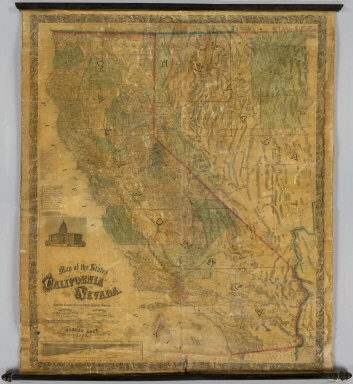 Map of the States Of California And Nevada. Carefully Compiled from the Latest Authentic Sources. California By Julius H. Von Schmidt, Arthur W. Keddie, And C.D. Gibbes, C.E.'s. Nevada By Chas. Drayton Gibbes C.E. S.B. Linton Engr. & Lithogr. 148-1/2 S. 4th Street, Philadelphia. Comprising Information obtained from the U.S. Coast And Land Surveys, State Geological Surveys, By Prof. J.D. Whitney, Railroad Surveys And The Results Of Explorations Made By Brevet Lieut. Col. R.S. Williamson, U.S.A., Henry DeGroot, C.D. Gibbes, And Others. Published by Warren Holt. No. 411 Kearny Street, San Francisco, Cal. 1869. Entered ... 1868, by Warren Holt ... California. (with 1 inset).