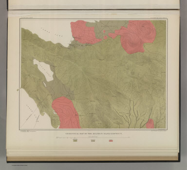 Geological Map of the Sulphur Bank District. U.S. Geological Survey. Monograph XIII, Atlas Sheet IV. S.H. Bodfish 1882, J.D. Hoffman 1884, Topographers. Giles Litho. & Liberty Printing Co. Geo. F. Becker, Geologist in charge.