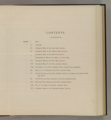 (Table of Contents to) Department Of The Interior, United States Geological Survey, J.W. Powell Director. Atlas to Accompany a Monograph an The Geology of the Quicksilver Deposits of the Pacific Slope By George F. Becker. Washington 1887. Giles Litho. & Liberty Printing Co. N.Y.