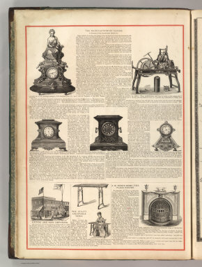 The Manufacturing of Clocks ... The American Clock Company. Awning and Tent Emporium. The Utility Adjustable Table. J.W. Budd's Dome Fire Place Heater. (1875)