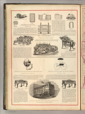 The American Wire Works. Davis & Gledhill. Ritchie & Son, Manufacturers of Patent Pad-Locks. Brockett & Tuttle, Carriage Manufacturers. Sohmer & Co. Piano Manufactory. (1875)