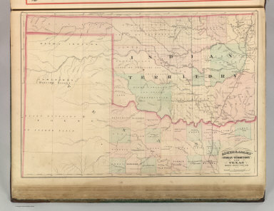 Asher & Adams' Indian Territory and Texas, North West Portion Entered according to Act of Congress 1874 by Asher & Adams in the Office of the Librarian of Congress at Washington.