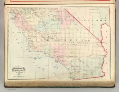 Asher & Adams' California and Nevada. South Portion. Entered according to Act of Congress 1874 by Asher & Adams in the Office of the Librarian of Congress at Washington.
