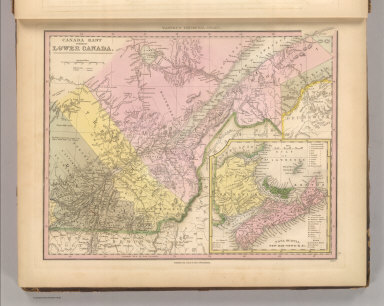 Canada East, Formerly Lower Canada. J. Knight Sc. Published by Carey & Hart, Philadelphia. (above neat line) Tanner's Universal Atlas.