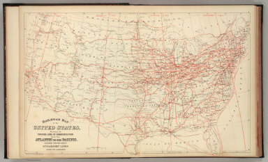Railroad map of the United States, showing the through lines of communication from the Atlantic to the Pacific, together with the various steamship lines along the seaboard. Copyright by Wm. M. Bradley & Bro. 1884.