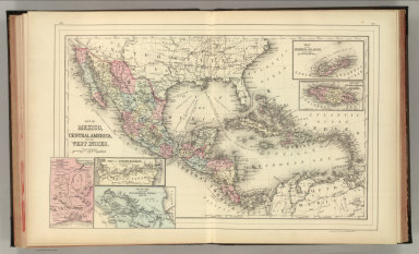 Map of Mexico, Central America, and the West Indies. (with) Map of the Bermuda Islands. (with) Map of the island of Jamaica. (with) Map of the proposed ship rail road route across the isthmus of Tehuantepec. (with) Map of the Panama Railroad and proposed canal. (with) Map of the proposed Nicaragua Canal route. Copyright by S. Augustus Mitchell 1884.