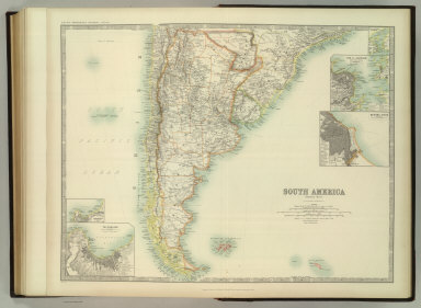 South America (southern sheet). (with) Valparaiso and Environs. (with) Valparaiso. (with) Buenos Aires. (with) Rio de Janeiro and Environs. (with) Rio de Janeiro Harbour. Keith Johnston's General Atlas. Dec. 1911. Engraved, Printed, and Published by W. & A.K. Johnston, Limited, Edinburgh & London.