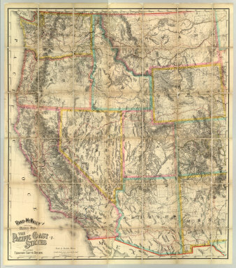 Rand - McNally Official Railway Map Of The Pacific Coast States Including Territory East To Denver ... Copyright, 1902, by Rand, McNally & Co., Chicago. Copyright, 1893 ... 1898 ...