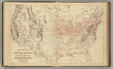 Railroad map of the United States, showing the through lines of communication from the Atlantic to the Pacific, together with the various steamship lines along the seaboard. W. H. Gamble, Sc. Copyright 1886 by Wm. M. Bradley & Bro.