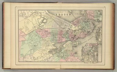 Plan of Boston. (with) Map of the country around Boston showing also its harbor & islands. Copyright 1886 by Wm. M. Bradley & Bro.