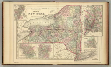 County map of the state of New York. (with) Map of New York City and vicinity. (with) Albany. (with) Rochester. (with) Buffalo. (with) Troy, West Troy. Drawn and engraved by W.H. Gamble, Philadelphia. Copyright 1886 by Wm. M. Bradley & Bro.