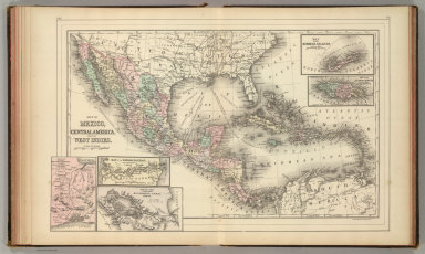 Map of Mexico, Central America, and the West Indies. (with) Map of the Bermuda Islands. (with) Map of the island of Jamaica. (with) Map of the proposed ship rail road route across the isthmus of Tehuantepec. (with) Map of the Panama Railroad and proposed canal. (with) Map of the proposed Nicaragua Canal route. Copyright 1886 by Wm. M. Bradley & Bro.