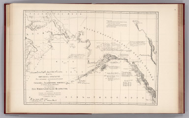 (Facsimile) Russian Map (Enclosure in C. Bagot's Dispatch). Translation of Title: Map of Marine Discoveries by Russian Navigators in the Pacific and Frozen Oceans, made in various years.