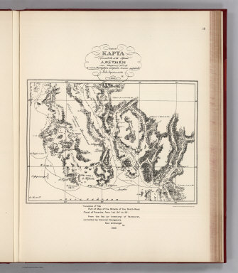 (Facsimile) Translation of Title: Part of Map of the Straits of the North-West Coast of America, from Lat. 54° to 56°. From the list (or inventory) of Vancouver, corrected by Colonial Navigators. New Archangel IX. 1849. Photo. Lith. by A. Hoen & Co. Baltimore, MD.