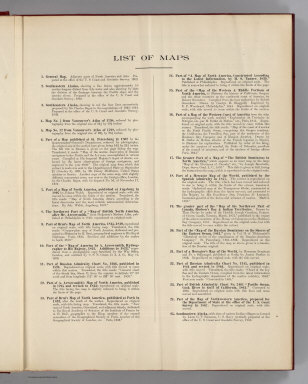 (Index to) List of Maps. Alaskan Boundary Tribunal. (Volume 2) United States Atlas. Maps And Charts Accompanying The Case And Counter Case Of The United States. Washington, Government Printing Office, 1904.