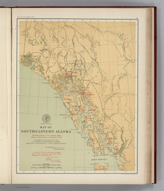 (Facsimile) Map of Southeastern Alaska. Showing locations of the principal Indian villages, as fixed by Lieut. G.T. Emmons, U.S.N. Prepared at the Office of the U.S. Coast and Geodetic Survey from the Latest Official U.S. and Canadian Surveys. Alaskan Boundary Tribunal, 1903. 25. Photo. Lith. by A. Hoen & Co. Baltimore, MD.