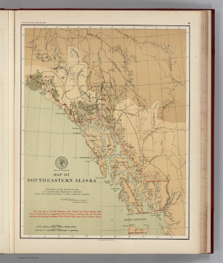 (Facsimile) Map of Southeastern Alaska. Prepared at the Office of the U.S. Coast and Geodetic Survey from the Latest Official U.S. and Canadian Surveys. Showing also in red the boundary now claimed by Great Britain (See Case of Great Britain, Appendix, Vol. II, Map 37) and by tints the division between the drainage systems of the pacific slope of the interior rivers. Alaskan Boundary Tribunal, 1903. 26. Andrew B Graham. Photo-Litho. Washington.D.C.