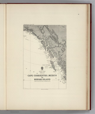 (Facsimile) Pacific Ocean Eastern Part, Cape Corrientes, Mexico to Kodiak Island (portion). Compiled from the most recent Surveys in the Hydrographic Office 1876. Alaskan Boundary Tribunal, 1903. 38. Andrew B. Graham. Photo-Litho. Washington.D.C.