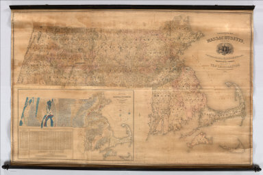 Topographical Map Of Massachusetts, Compiled From Astronomical, Trigonometrical, and Various Local Surveys Made By Order Of The Legislature. Simeon Borden, Superintendent. 1844. Engraved by George G. Smith, Boston. Entered ... 1844, by the Commonwealth of Massachusetts ... Massachusetts. Published & Sold by C. Hickling, No. 20 Devonshire St. Boston. (inset) Geological Map Of Massachusetts, Made By Order Of The Legislature, by Edward Hitchcock. 1844.