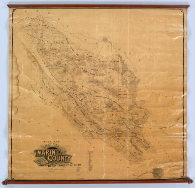 Official Map Of Marin County, California. 1892. Compiled From Records And Surveys By Geo. M. Dodge C.E. Copyrighted. Copyright 1892 by Geo. M. Dodge. Schmidt Label & Lith Co.