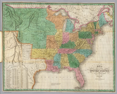 Map of the United States Constructed from the Latest Authorities. 1827. Copyright secured. Published by A. Finley, Philada. Engraved by J.H. Young.