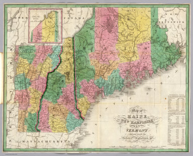 Map of Maine, New Hampshire, and Vermont Compiled from the Latest Authorities. Drawn by D.H. Vance. Published by A. Finley, Philada.