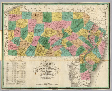 Map of Pennsylvania, New Jersey, and Delaware, Constructed from the Latest Authorities. Drawn by D.H. Vance. Published by A. Finley, Philada. Engraved by J.H. Young.