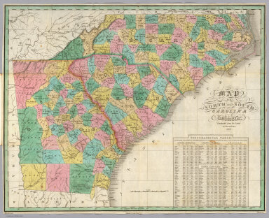 Map of North and South Carolina, and Georgia, Constructed from the Latest Authorities. 1827. Copyright secured. Published by A. Finley, Philada. 1827. J.H. Young Sculp.