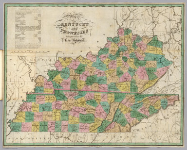 Map of Kentucky and Tennessee, compiled for the Latest Authorities. D.H. Vance Del., Philadelphia Published by A. Finley. J.H. Young Sculp.