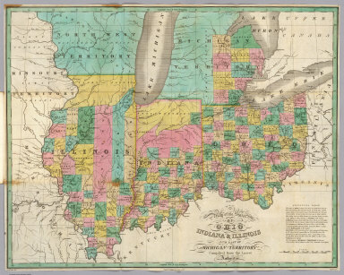 Map of the States of Ohio, Indiana, & Illinois, and Part of the Michigan Territory, Compiled from the Latest Authorities. D.H. Vance Del., Philada. Published by A. Finley 1827. J.H. Young Sc.