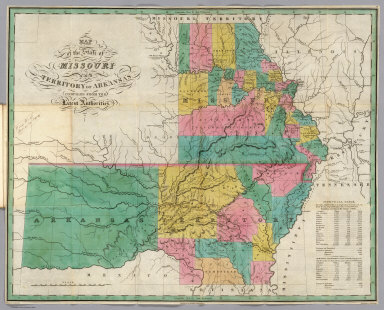 Map of the States of Missouri and Territory of Arkansas, Compiled from the Latest Authorities. Drawn by D.H. Vance. Published by A. Finley, Philadelphia. Engraved by J.H. Young.