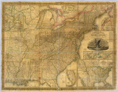 Mitchell's Reference & Distance Map Of The United States By J.H. Young. Published By S. Augustus Mitchell. Philadelphia For Sale By Mitchell & Hinman, No. 6 North Fifth Street 1836. Engraved by J.H. Young, F. Dankworth, E. Yeager & E. F. Woodward. Entered ... 1833 by S. Augustus Mitchell ... Pennsylvania ... (illustration) Designed by W. Mason. (inset) A General Map Of The United States with the contiguous British & Mexican Possessions. (with 12 additional inset maps).