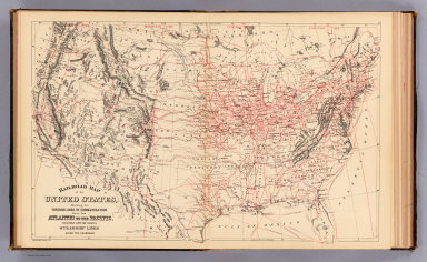 Railroad map of the United States, showing the through lines of communication from the Atlantic to the Pacific, together with the various steamship lines along the seaboard. Copyright 1886 by Wm. M. Bradley & Bro. (1890)