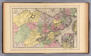 Plan of Boston. (with) Map of the country around Boston showing also its harbor & islands. Copyright 1887 by Wm. M. Bradley & Bro. (1890)