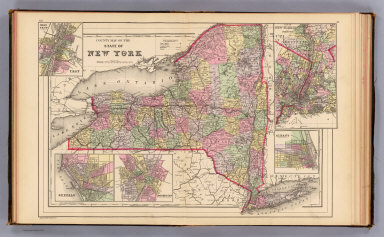 County map of the state of New York. (with) Map of New York City and vicinity. (with) Albany. (with) Rochester. (with) Buffalo. (with) Troy, West Troy. Drawn and engraved by W.H. Gamble, Philadelphia. Copyright 1887 by Wm. M. Bradley & Bro. (1890)