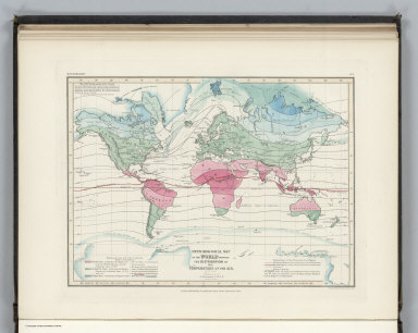 Meteorology. No. 7. Meteorological Map of the World Showing the Distribution of the Temperature of the Air. Constructed by Augustus Petermann, F.R.G.S. Engraved by John Dower, Pentonville, London. London: Published by Orr and Compy. Amen Corner, Paternoster Row.