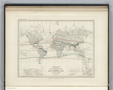 Botanical Geography. No. 10. Botanical Map Showing the Distribution & Cultivation of some of the Most Important Plants over the Globe. Constructed by Augustus Petermann, F.R.G.S. Engraved by John Dower, Pentonville, London. London: Published by Orr and Compy. Amen Corner, Paternoster Row.